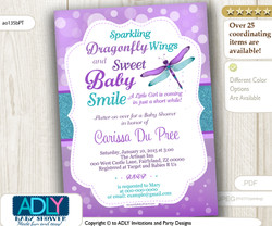 Dragonfly Purple Teal Girl Invitation for Baby Shower