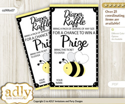 Girl Bee Diaper Raffle Printable Tickets for Baby Shower, Yellow Black, Polka