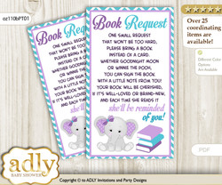 Request a Book Instead of a Card for Girl Elephant Baby Shower or Birthday, Printable Book DIY Tickets, Peanut, Purple teal