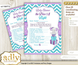 Printable Girl Elephant Price is Right Game Card for Baby Elephant Shower, Purple teal, Peanut