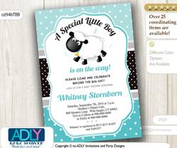 Tiffany Blue Black Lamb Invitation for Boy Baby Shower, aqua, black, ligh turquoise