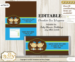 Personalizable Twins Monkey Chocolate Bar Candy Wrapper Label for Twins  baby shower, birthday Green Blue , Boys