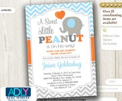 Baby Blue, Grey and Orange Elephant Boy Invitation for Baby Shower