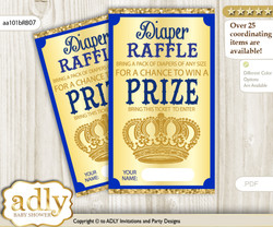 Boy Royal Diaper Raffle Printable Tickets for Baby Shower, Blue, Gold
