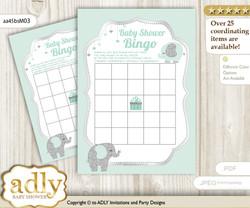 Printable Mint Elephant Bingo Game Printable Card for Baby Boy Shower DIY grey, Mint, Silver