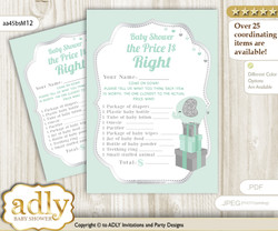 Printable Boy Elephant Price is Right Game Card for Baby Elephant Shower, Mint, Silver