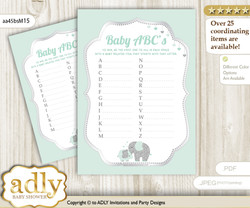 Boy Elephant Baby ABC's Game, guess Animals Printable Card for Baby Elephant Shower DIY – Silver