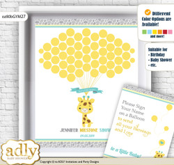 Baby Giraffe Guest Book Alternative for a Baby Shower, Creative Nursery Wall Art Gift, Yellow Mint, Neutral
