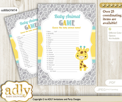 Printable Baby Giraffe Baby Animal Game, Guess Names of Baby Animals Printable for Baby Giraffe Shower, Yellow Mint, Neutral