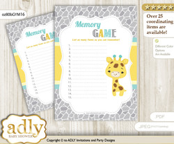 Baby Giraffe Memory Game Card for Baby Shower, Printable Guess Card, Yellow Mint, Neutral