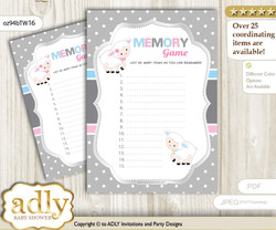 Twins Lamb Memory Game Card for Baby Shower, Printable Guess Card, Pink Blue, Polka