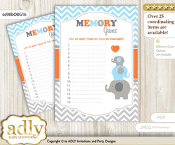Boy Elephant Memory Game Card for Baby Shower, Printable Guess Card, Grey Orange, Blue