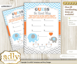 Boy Elephant Dirty Diaper Game or Guess Sweet Mess Game for a Baby Shower Grey Orange, Blue