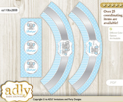 Printable Boy Elephant Cupcake, Muffins Wrappers plus Thank You tags for Baby Shower Grey Blue, Polka