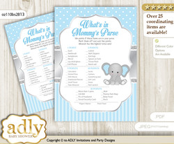 Boy Elephant What is in Mommy's Purse, Baby Shower Purse Game Printable Card , Grey Blue,  Polka