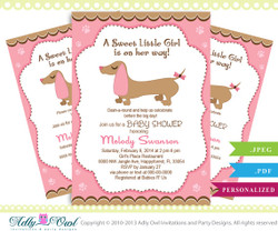 Girl Sausage Dog Baby Shower Invitation, Printable Girl Dachshund Baby Shower Card for a baby shower. Soft pink, diy, brown