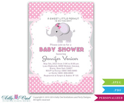 Girl Elephant Invitation for Baby Shower, Elephant Polka Pink Gray Printable Card. Polka dots, gray elephant diy digital card - Instant Download