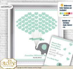 Boy Elephant Guest Book Alternative for a Baby Shower, Creative Nursery Wall Art Gift, Mint Grey, Chevron nn