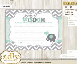 Mint Grey Boy Elephant Words of Wisdom or an Advice Printable Card for Baby Shower, Chevron