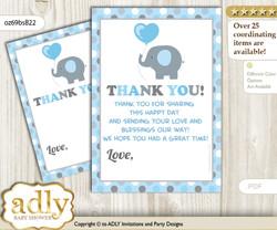 Boy  Peanut Thank you Cards for a Baby Boy Shower or Birthday DIY Blue Grey, Polka