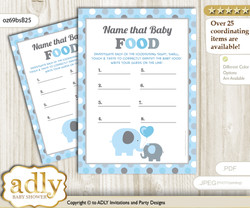 Boy Peanut Guess Baby Food Game or Name That Baby Food Game for a Baby Shower, Blue Grey Polka