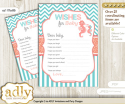 Baby Seahorse Wishes for a Baby, Well Wishes for a Little Seahorse Printable Card, Turquoise, Coral