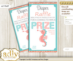 Baby Seahorse Diaper Raffle Printable Tickets for Baby Shower, Coral, Turquoise