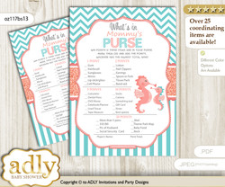 Baby Seahorse What is in Mommy's Purse, Baby Shower Purse Game Printable Card , Coral,  Turquoise