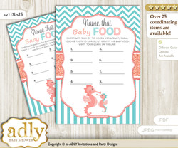 Baby Seahorse Guess Baby Food Game or Name That Baby Food Game for a Baby Shower, Coral Turquoise