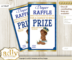 King Prince Diaper Raffle Printable Tickets for Baby Shower, Royal blue, African