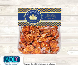 Printable Crown  Prince Treat or Goodie bag Toppers for Baby  Crown  Shower or Birthday DIY  Gold Blue ,  Chevron