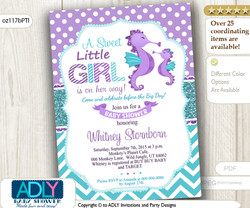 Purple Teal Seahorse Girl Baby Shower Invitation