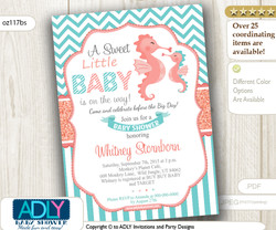 Unisex, Neutral Seahorse Baby Shower invitation, coral and turquoise