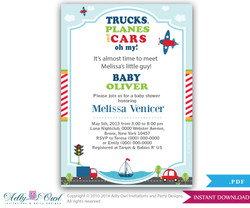 Cars, Trucks and Planes Transport Boy Shower Invitation