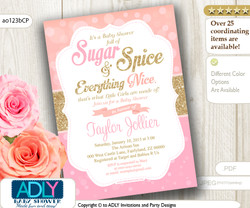 Peach, Pink and Gold Baby Shower Invitation