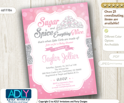 Silver Pink Tiara Girl Shower Invitation for little princess