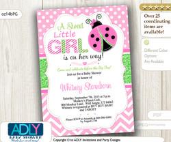 Pink and Green Ladybug Baby Shower Digital Invitation