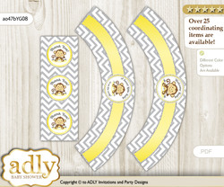 Printable Boy Girl Monkey Cupcake, Muffins Wrappers plus Thank You tags for Baby Shower Yellow Grey, Chevron