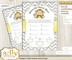 Boy Girl Monkey Dirty Diaper Game or Guess Sweet Mess Game for a Baby Shower Yellow Grey, Chevron