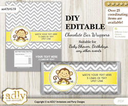 DIY Personalizable Boy Girl Monkey Chocolate Bar Candy Wrapper Label for Boy Girl  baby shower, birthday Yellow Grey , editable wrappers