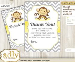 Boy Girl  Monkey Thank you Cards for a Baby Boy Girl Shower or Birthday DIY Yellow Grey, Chevron