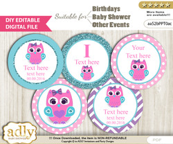DIY Text Editable Girl Owl Cupcake Toppers Digital File, print at home, suitable for birthday, baby shower, baptism