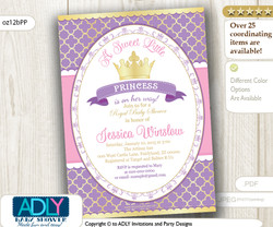 Purple Pink Gold Princess Invitation for Royal Baby Shower, lavender, golden crown, a Sweet Little Princess is on her way