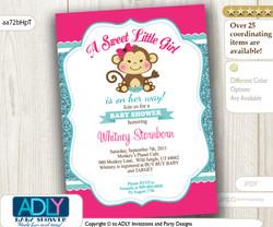 Hot Pink, Turquoise, Aqua Monkey Baby Shower Invitation