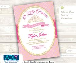 Gold Pink Tiara Girl Shower Invitation for little princess, Bokeh pattern