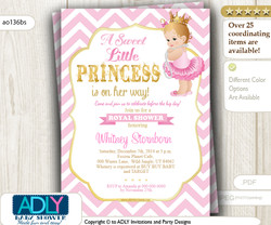 Soft Pink, Gold Blond Princess with Tutu, Crown and Pearls Invitation