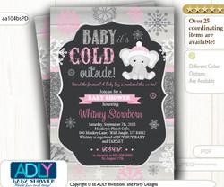 Baby Pink, Glitter Dark Grey Elephant Snowflake Invitation for Winter Baby Shower