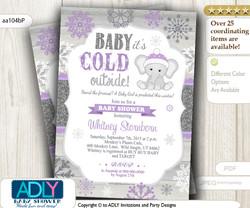 Purple, Glitter Grey Elephant Snowflake Invitation for Winter Baby Shower