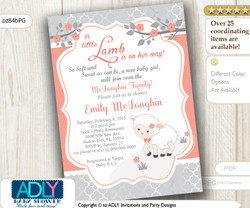 Coral Grey Little Lamb Girl Baby Shower Invitation for a New Baby Girl, Peach Lambie