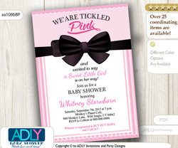 Black Bow Girl Baby Shower Invitation, soft pink and black digital card